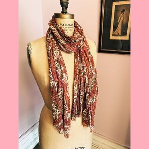 Accessories - Pink Paisley Gauzy Cotton Scarf